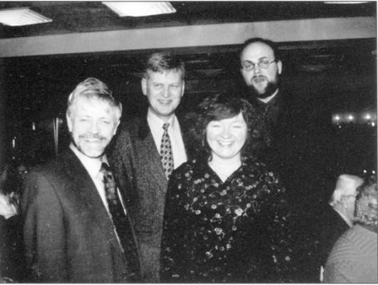 Lederne i laget gjennom de første 10 år: Albert Johannessen, Georg Igland, Åse Marie Leksbø og Ådne Fardal Klev(Foto: Gro Reinertsen, Farsunds Avis).